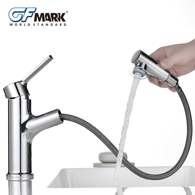 GFmark Pull Out Faucets Bathroom Adjustable Spout Faucet Deck Mount Basin Taps Cold and Hot Mixers Bath Sink Chrome Mixer TorneiGFmark Pull Out Faucets Bathroom Adjustable Spout Faucet Deck Mount Basin Taps Cold and Hot Mixers Bath Sink Chrome Mixer Tornei