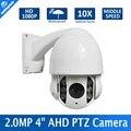 2MP Impermeable Al Aire Libre IP66 5-50mm 10x Zoom Óptico CCTV 1080 P 4 pulgadas Mini Medio Domo AHD PTZ Cámara de visión nocturna IR 60 M