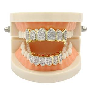 Teeth-Caps Top-Bottom Tooth Grills Body-Jewelry Hiphop Dental-Grillz Vampire Crystal