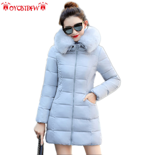 Winter Women Feather Cotton Jacket Mid-long Large size Thick Warm Outerwear Fur collar Hooded female Down cotton Overcoat ll705