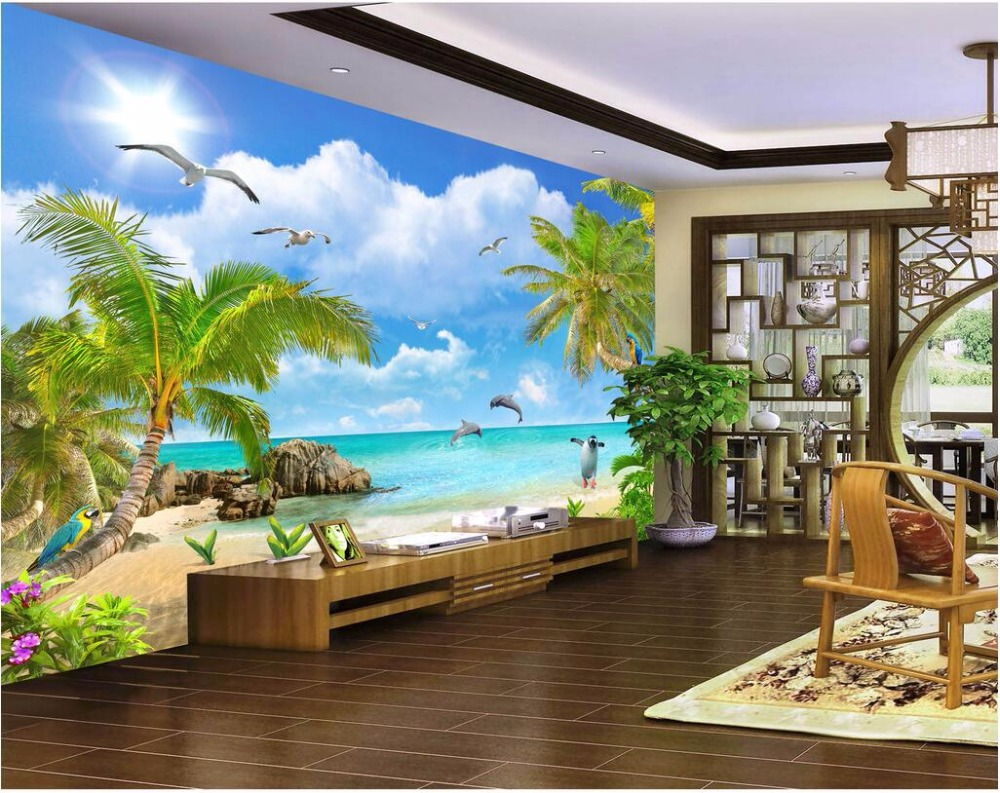 3d wall murals wallpaper for walls 3 d photo wallpaper Summer scenery coconut palm beach Custom mural room decoration painting
