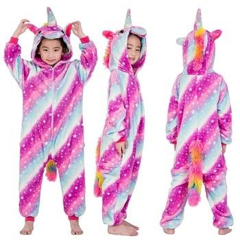 Новые зимние фланелевые детские пижамы кигуруми Единорог Хэллоуин комбинезоны  комбинезон для малышей Пижама для девочки животных для маль. 423b228c438cd