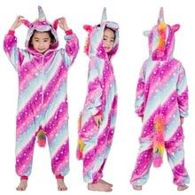 New Winter Flannel Kids Pajamas Kigurumi Unicorn Halloween Onesies Jumpsuit Baby Girl Pyjama Animal Children Boy Licorne Sleeper