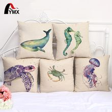 Turtles Printing Pillow Case Jellyfish Hippo Campus Whale Long Tail Fish Cushion Cover Sea Style Sofa Window Home Decoration