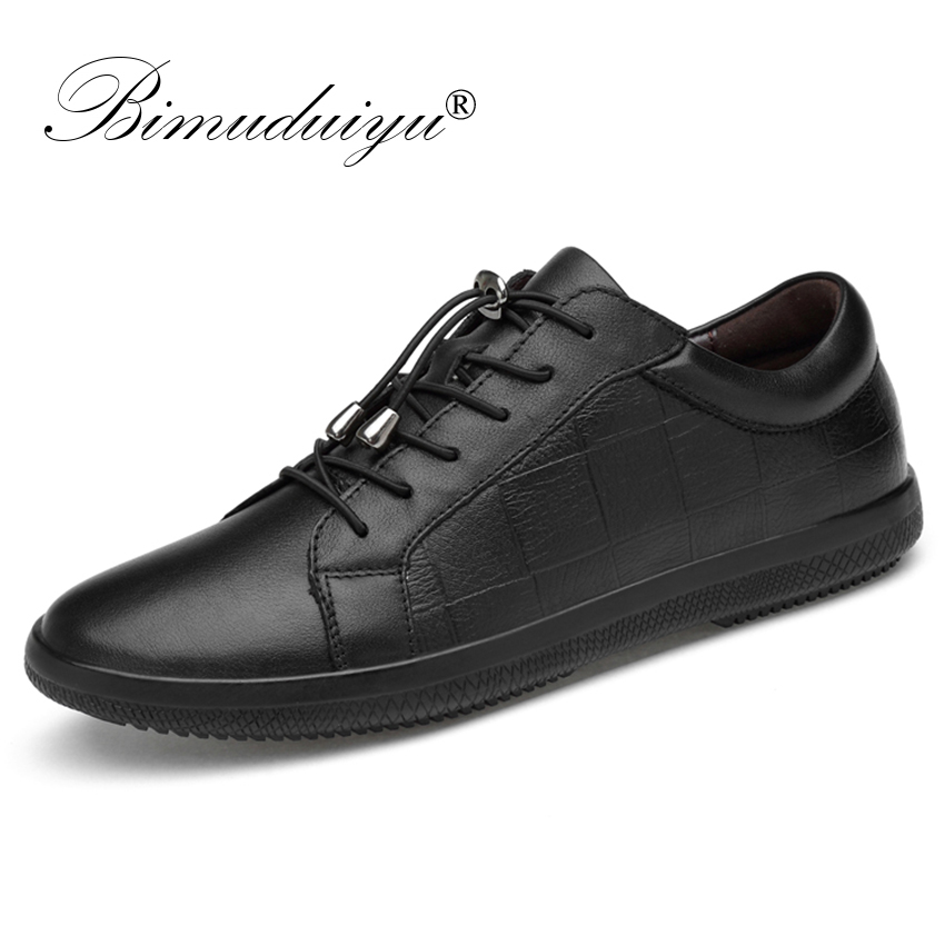 BIMUDUIYU Brand Genuine Leather Men Shoes Lace Up Breathable Soft Autumn Casual Flats Shoes Simple Black