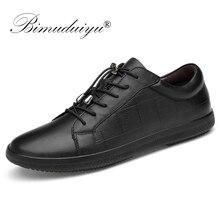 BIMUDUIYU; брендовая мужская обувь из натуральной кожи на шнуровке; дышащая мягкая Осенняя повседневная обувь на плоской подошве; Простые модные кроссовки черного цвета