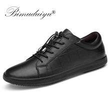BIMUDUIYU Brand Genuine Leather Men Shoes Lace-Up Breathable Soft Autumn Casual  Flats Simple Black Style Fashion Sneakers