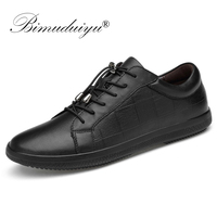 BIMUDUIYU Brand Genuine Leather Men Shoes Lace Up Breathable Soft Autumn Casual Flats Shoes Simple Black Style Fashion Sneakers