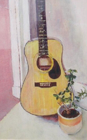 Da Fen Oil Painting Village Strong Artists Team Hand Painted Guitar Oil Painting on Canvas Art Works for Room Wall Decoration