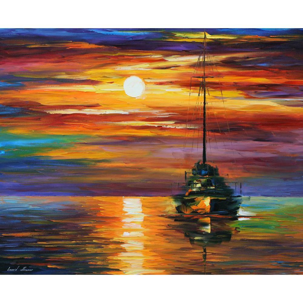 Beau paysage peintures calme coucher de soleil II palette