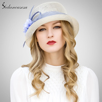 Sedancasesa 2018 Elegant Ivory Lady Sinamay Hats Handmade Wedding hats Formal Hat For Church Evening Box Package SW028000003