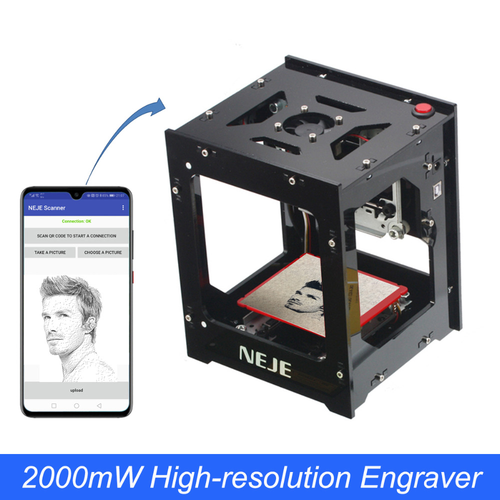NEJE 2000mW Laser Engraving Machine 405nm AI Smart Android APP CNC Laser Cutting Router Mini Engraver