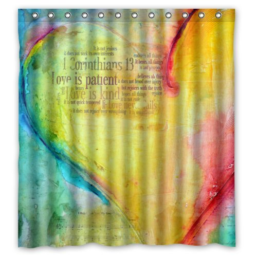 Mr Kill ( Colorful Christian Bible Love Is Patient ) 66 x 72 Waterproof Polyester Fabric Shower Curtain