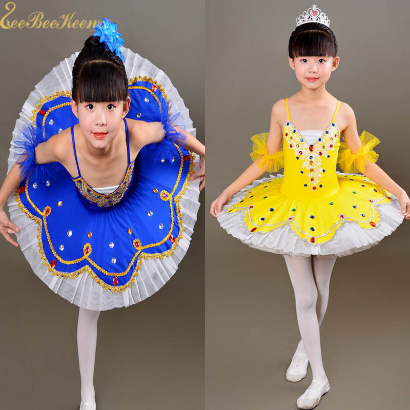 Blue/yellow/red Professional Ballet Tutu Dance Dress For Girls Pancake Swan Lake Colored Diamond Ballerina Performance Clothes