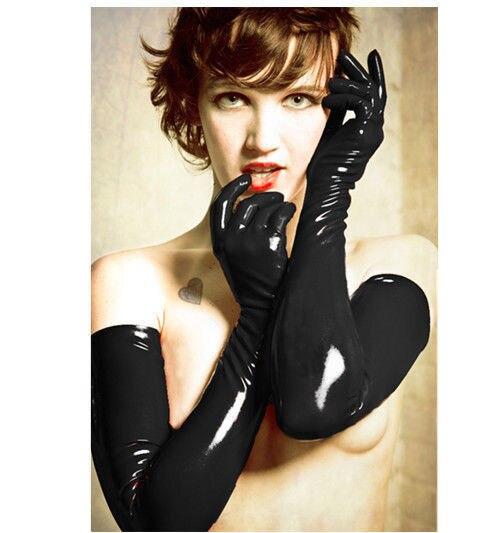 Сексуальные женские перчатки, для взрослых, мокрого вида, латексные, ПВХ кожаные Фетиш перчатки, аксессуары для костюма, 2 цвета, перчатки - Цвет: Черный