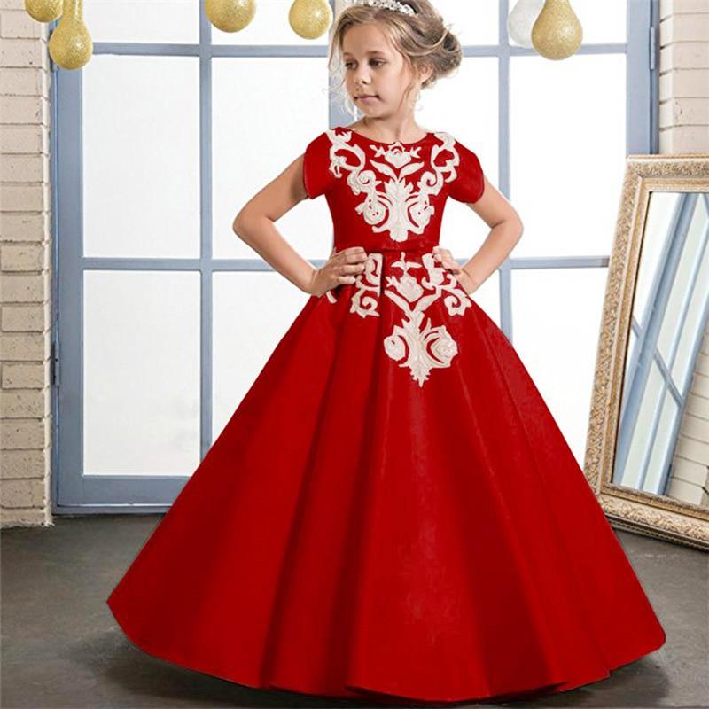 Prom   dress   children long party   dress     flower     girl     dress   for wedding first communion princess   dress   baby costume fluffy clothing