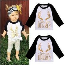 Kids Girls T-shirt Baby Christmas Clothes Long Sleeve Tops T-shirt 0-5 Years