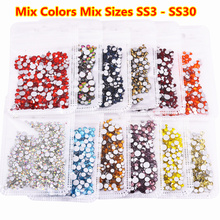 30Colors 1500pcs/bag Mix Sizes ss3-ss30 Non Hotfix Rhinestones Glass Flatback Nail Art Stones Strass Decoration Crystal