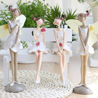 Poly Sitting Girl Flower Lady Sister Deco Standing Fairy Angel Wings Living Room Decorative Sister Gifts