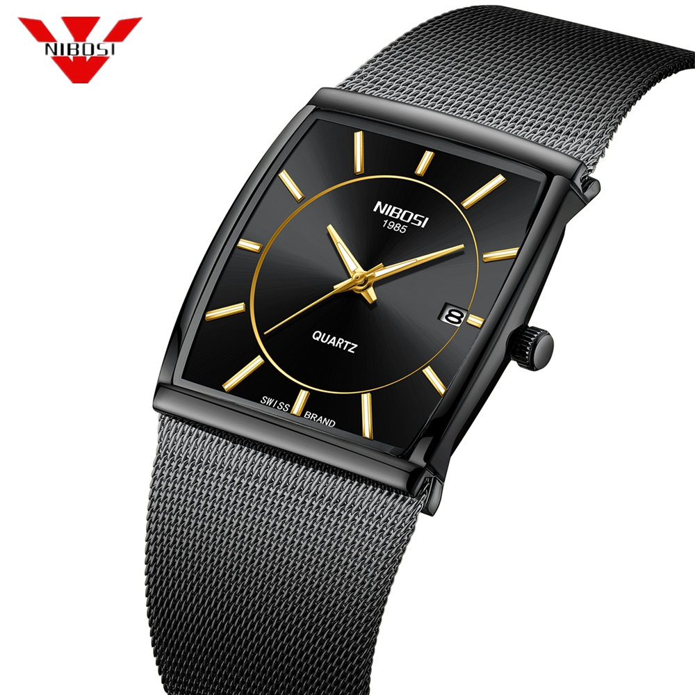 NIBOSI Luxury Brand Watches Men Stainless Steel Mesh Band Quartz Sport Watch Chronograph Men's Wrist Watches Clock Square Watch