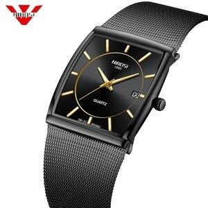 Image 1 - Nibosi marca de luxo relógios masculinos aço inoxidável malha banda quartzo esporte relógio cronógrafo masculino relógios de pulso relógio quadrado
