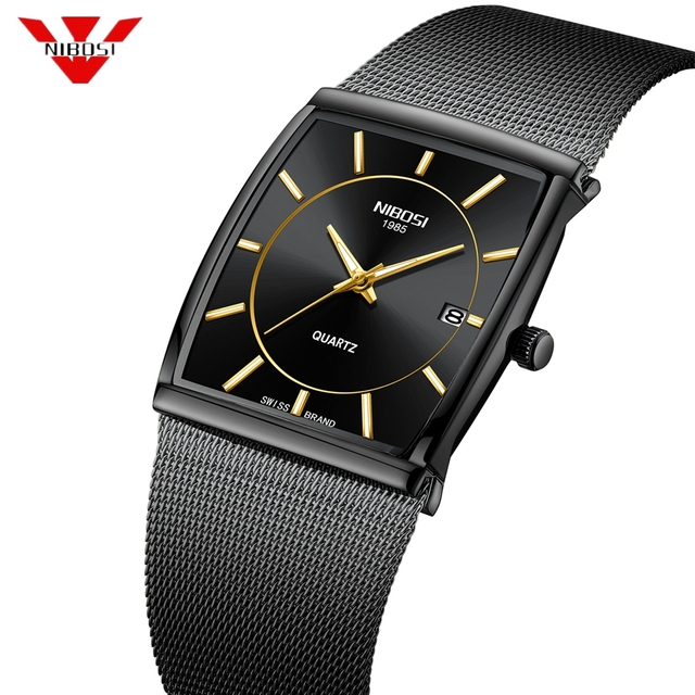 Nibosi marca de luxo relógios masculinos aço inoxidável malha banda quartzo esporte relógio cronógrafo masculino relógios de pulso relógio quadrado