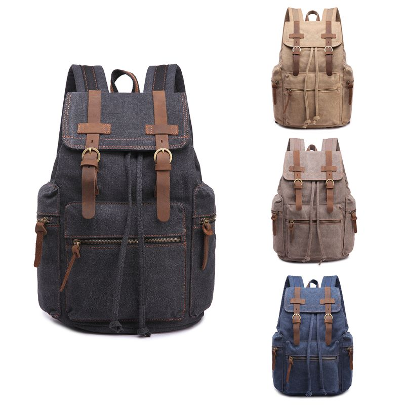 Vintage Canvas Backpack Men School Travel Rucksack Laptop Satchel Shoulder Bag DaypackVintage Canvas Backpack Men School Travel Rucksack Laptop Satchel Shoulder Bag Daypack