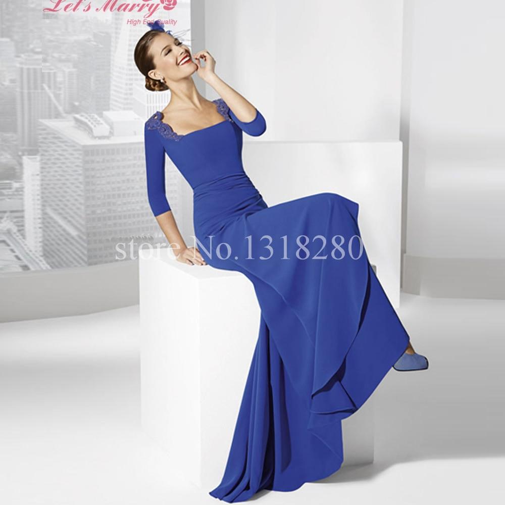 Wdz 190 Simple Elegant Robe Bleu Roi Royal Blue Mother Of The Bride Dresses Long Mermaid Evening Dress 3 4 Sleeve Robe De Mere Evening Dress Robe Derobe Bleu Roi Aliexpress
