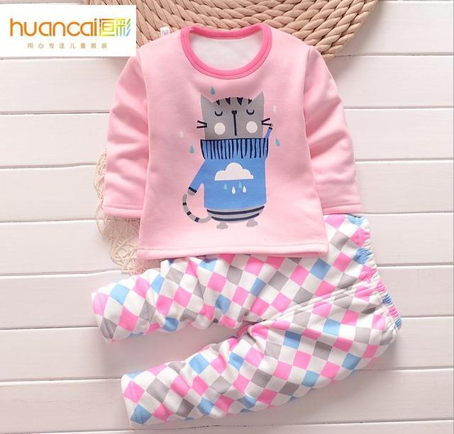 2 Шт./лот дети ребенок пижамы пижаме костюм детский теплый нижнее белье детские мальчики девочки пижамы устанавливает зима мультфильм одежда пижамы