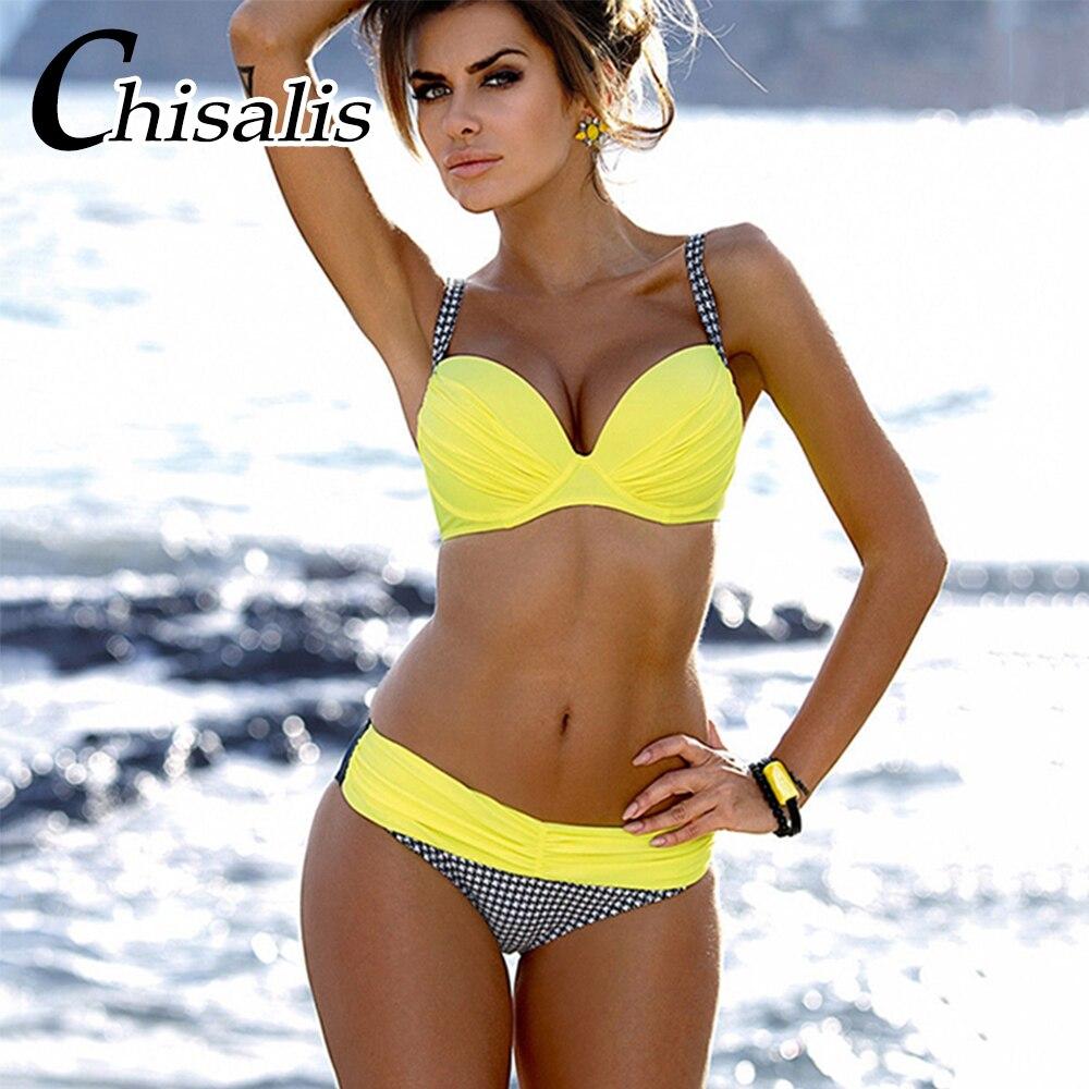 2018 neue bikini set frauen badeanzug retro bikinis femme push up - Sportbekleidung und Accessoires