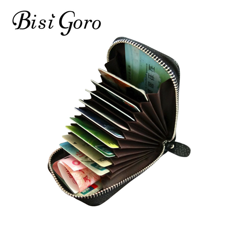 BISI GORO 2019  Unisex Genuine Leather Zipper Credit Card Holder ID And Credit Card Holders 11 Color Blocking Wallets With RFID BISI GORO 2019  Unisex Genuine Leather Zipper Credit Card Holder ID And Credit Card Holders 11 Color Blocking Wallets With RFID