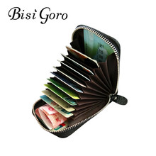 BISI GORO 2019  Unisex Genuine Leather Zipper Credit Card Holder ID And Credit Card Holders 11 Color Blocking Wallets With RFID