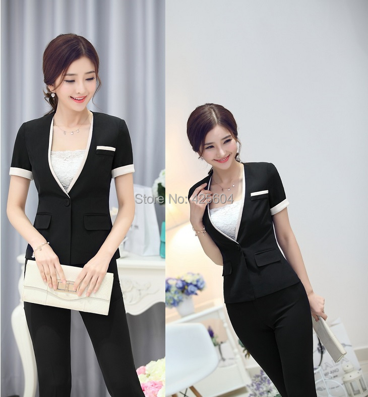 Female formal pantsuits uniform design office suits 2015 for Office uniform design 2015