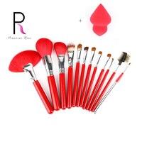 12pcs Beauty Makeup Brushes Wood Cosmetic Eyeshadow Foundation Concealer Make Up Brush Set With Leather Bag