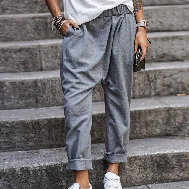 5XL Plus Size Harem Pants Solid Loose Cotton Linen Pants Pockets Casual Elastic Waist Female Clothes Summer Vintage Bottom 3