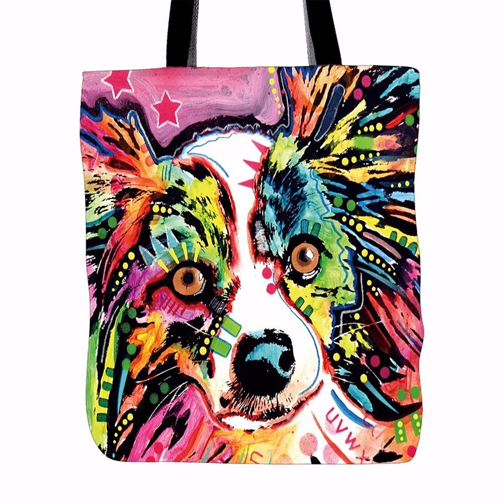 Gesneden canvas tas van hond en kat bedrukt Dames Casual strandtassen Grote capaciteit Dames Enkele boodschappentas Dagelijks gebruik Canvas handtassen