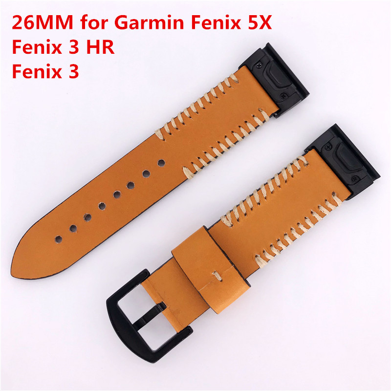 For Garmin Fenix 5X Quick Fit Genuine Leather Strap 26mm Watch Band for Garmin Fenix 5X/Fenix 5X Plus/D2/Descent Mk1/Fenix 3/HR stainless steel watch band 26mm for garmin fenix 3 hr butterfly clasp strap wrist loop belt bracelet silver spring bar