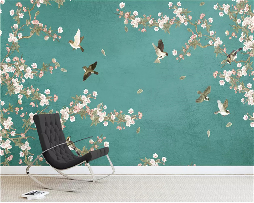 beibehang Begonia flower new Chinese hand-painted flowers and birds background decorative painting stereo wallpaper papier peint