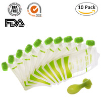 10pcs Lot Portable Outdoor Baby Feeding Supplies Double Zippers Reusable Refillable Complementary Food Grade For Baby