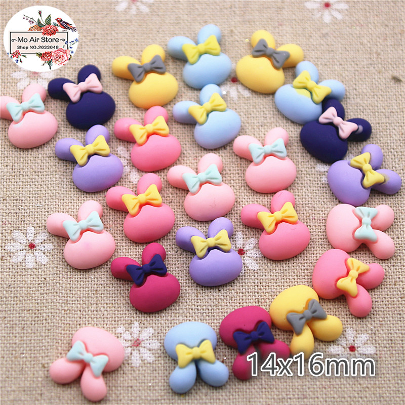 50pcs 14x16mm Mix Color Small Rabbit Resin Flatback Cabochon DIY Jewelry/phone/nail Art Decoration