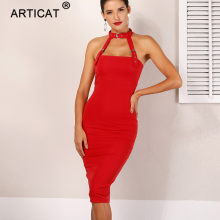 Articat Vrouwen Sexy Halter Strapless Zomer Jurk Vrouwen Wit Backless Bandcon Bandage Dress Party Elegante Casual Lange Jurk Rood(China)