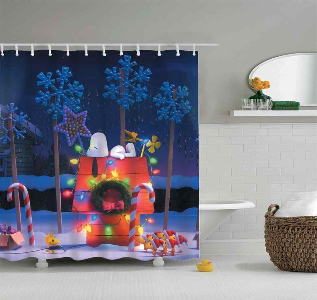 Christmas Shower Curtain Fabric 3d Bathroom Shower Curtains Bathroom Curtain Hooks Waterproof Water Repellent Bathroom