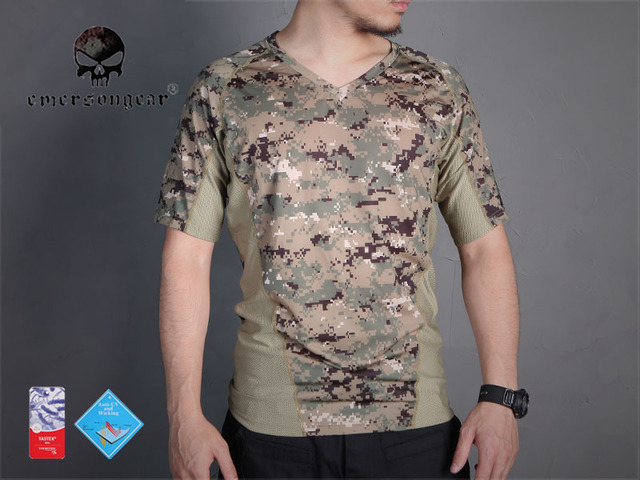 ba83ca7e76166 Emersongear perspiration Tshirt Skin Tight Base Layer Camo Running Shirts  Breathable Short sleeve AOR2 EM9167AOR2