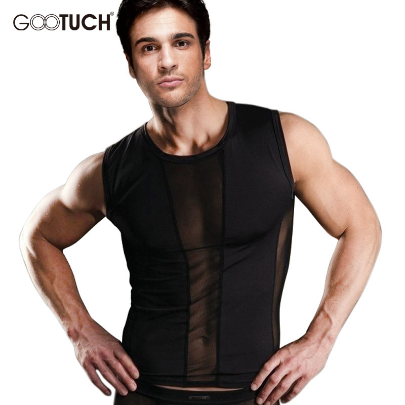 d763f9b142428 Mens Compression Tank Tops Men Mesh Breathable Suits Men s Bodybuilding  Fitness Gyms Vest Men See Though Sleeveless Shirt 5020-in Tank Tops from  Men s ...