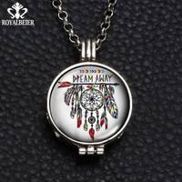 RoyalBeier 10pcs Boho Dreamcatcher Transparent Necklace for Girls Indian Essential Oils Perfume Diffuser Fashion Necklace 2017