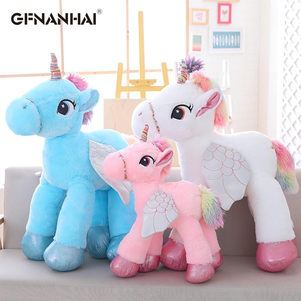 1pc 90cm Kawaii Unicorn Plush Toys Giant Stuffed Animal Horse Toys for Children Soft Doll Home Decor Lover Birthday Gift