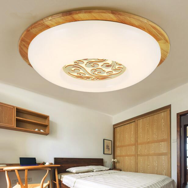 Modern Simple Round Bedroom LED Ceiling Lamp Solid Wood Acrylic Living Room Study Balcony Ceiling Light Free Shipping nordic simple round acrylic bedroom led ceiling lamp modern kitchen balcony corridor aisle cafe living room lamp free shipping