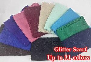 Image 1 - 10 pçs/lote Glitter Shinning de Bling do xaile do lenço da cabeça envoltório liso cor sólida longo xailes cachecóis muçulmano hijab, Frete grátis