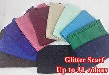10 unids/lote brillantina brillante Bling bufanda chal Head Wrap liso Color sólido chales largos pañuelos musulmanes Hijab, envío gratis