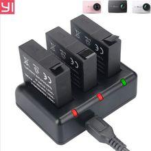D'origine KingMa Xiaomi Yi 4 K Batterie 3 PCS 1400 mAh Batterie et 3 canal USB Chargeur Pour XiaoYi 4 K II 2 Xiaomi Yi Accessoires